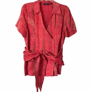 PHILOSOPHY Red and Gold Belted Blouse - 18W NWOT